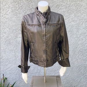 Guess Jeans Buttery Soft Leather Motorcycle Jacket